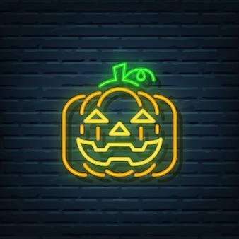 Jack o lantern neon sign vector elementen