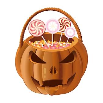 Jack-o-lantern tas met snoep. oranje pompoenmand om snoep te verzamelen op halloween. illustratie
