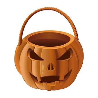 Jack-o-lantern tas. oranje pompoenmand om snoep te verzamelen op halloween. illustratie