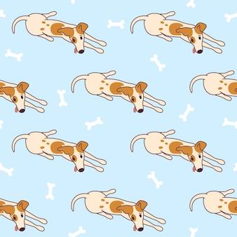 Jack russel terrier liggend op de vloer klaar om te spelen doggy naadloos patroon met botten