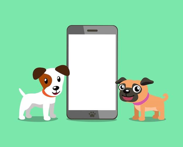Jack russell terriërhond en pug hond met smartphone