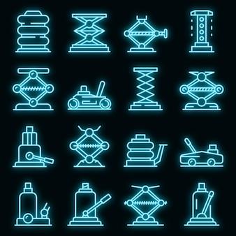 Jack-schroef pictogrammen instellen. overzicht set van jack-screw vector iconen neon kleur op zwart