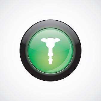 Jackhammer glas teken pictogram groene glanzende knop. ui website knop