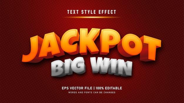 Jackpot groot win teksteffect. bewerkbaar teksteffect