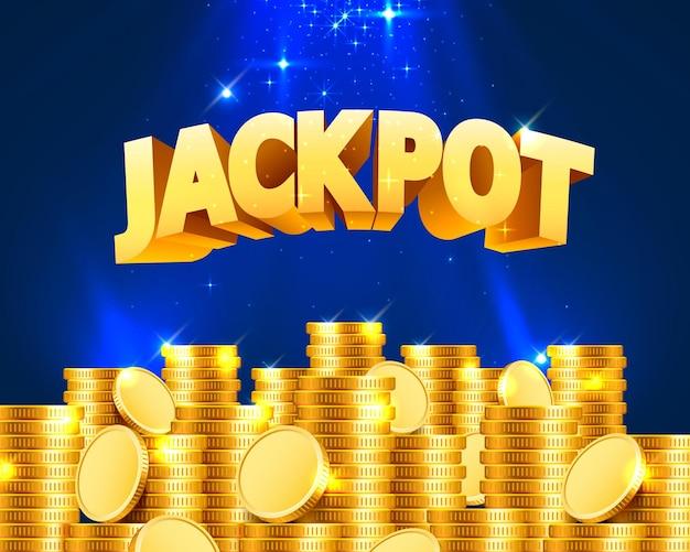 Jackpot in de vorm van gouden munten. geïsoleerd op blauwe achtergrond. vector illustratie