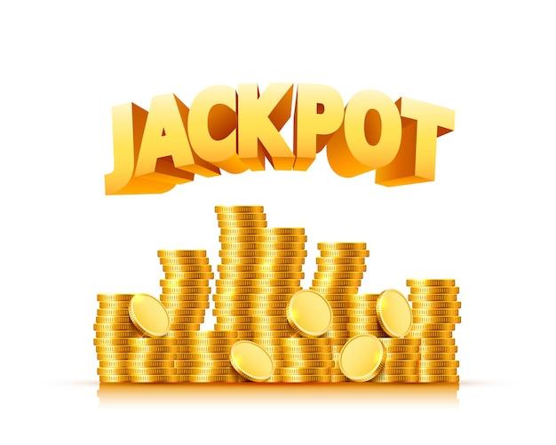 Jackpot in de vorm van gouden munten. geïsoleerd op groene achtergrond. vector illustratie