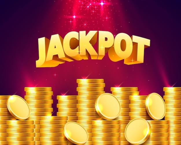 Jackpot in de vorm van gouden munten. geïsoleerd op rode achtergrond. vector illustratie