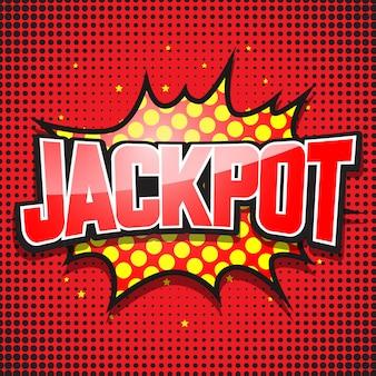 Jackpot. komische tekstballon