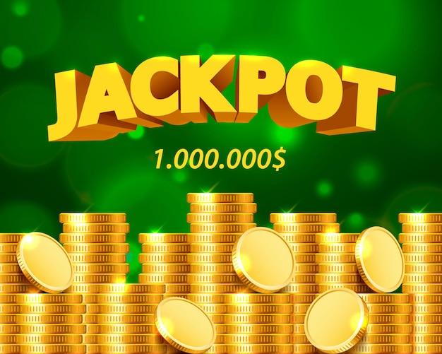 Jackpot miljoen dollar in de vorm van gouden munten. geïsoleerd op groene achtergrond. vector illustratie