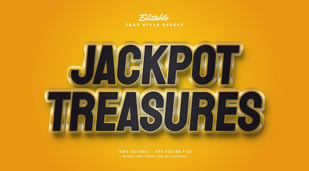 Jackpot treasure-tekststijl in zwart en goud met 3d-effect. bewerkbaar tekststijleffect