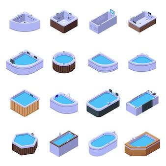 Jacuzzi iconen set, isometrische stijl