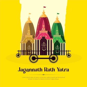 Jagannath rath yatra-bannerontwerp op gele achtergrond