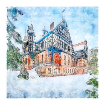 Jagdschloss gelbensande duitsland aquarel schets hand getrokken illustratie