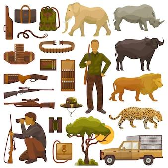 Jagen safari jager karakter in afrika met jacht munitie of jagers apparatuur geweer schieten en afrikaanse dieren leeuw olifant dieren in het wild instellen illustratie geïsoleerd op een witte achtergrond.