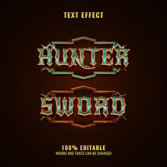 Jager en zwaard fantasie middeleeuws rpg-spel logo teksteffect met frame