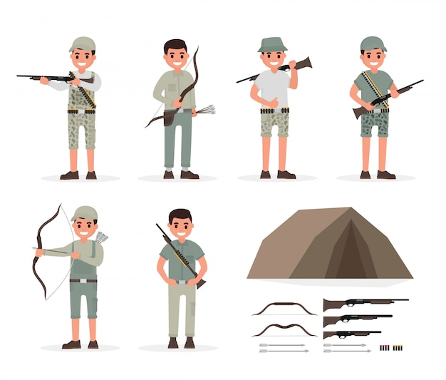 Jager, jager, jachtopziener, boswachter en boogschutter elementen