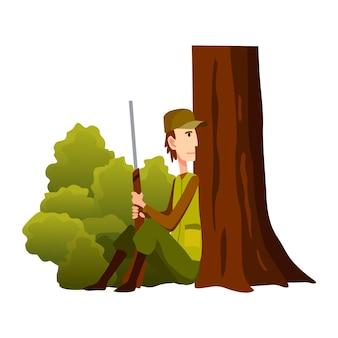Jagerkarakter met geweer zittend bij een boom