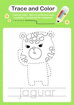 Jaguar-trace en kleur voorschoolse werkbladtracering
