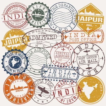 Jaipur india set van reizen en zakelijke stempelontwerpen