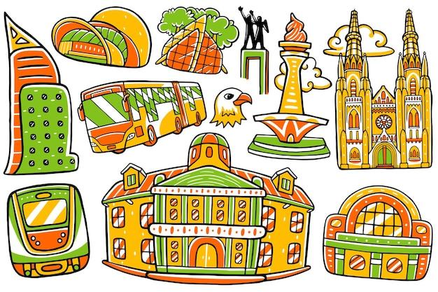 Jakarta stad doodle in platte ontwerpstijl