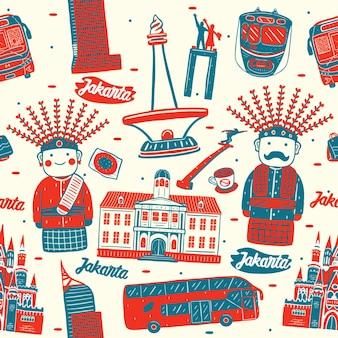 Jakarta stad naadloos patroon met oriëntatiepunten elementen