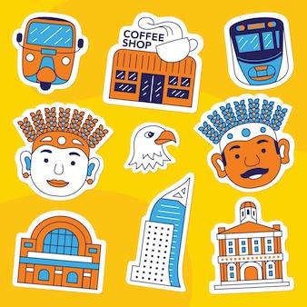 Jakarta stadsstickerpakket in vlakke stijl flat