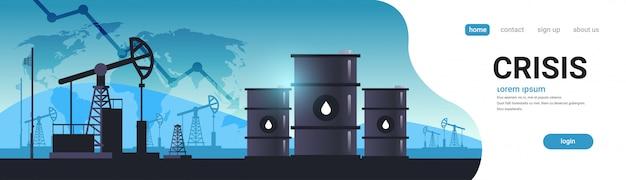 Jaknikker silhouet aardolieproductie en handel olie-industrie neerwaartse grafiek pijl dalende prijs crisis concept oliepompen booreiland wereldkaart achtergrond horizontale kopie ruimte