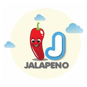 Jalapeno-mascotte met brief j