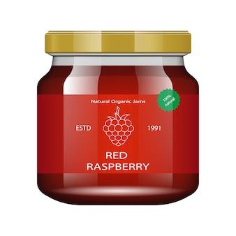 Jam frambozen glazen pot met jam en configureren. verpakking collectie. label voor jam. bank realistisch.