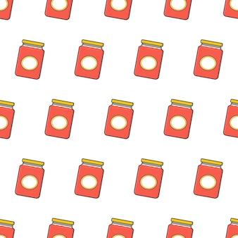 Jam glazen potten naadloos patroon op een witte achtergrond. pot met jam thema vectorillustratie