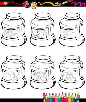 Jam in potten set cartoon kleurboek
