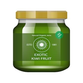 Jam kiwi. glazen pot met jam en configureren. verpakking collectie. label voor jam. bank realistisch.