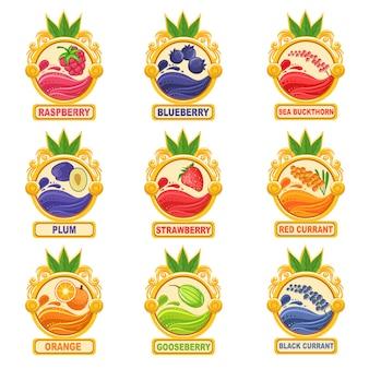 Jam label sticker verzameling sjablonen in ronde kaders
