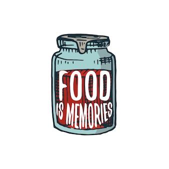 Jam of keukengerei, kookspullen voor menu-decoratie.