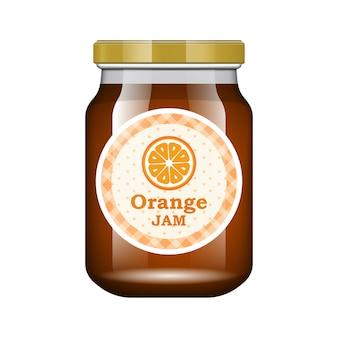 Jam oranje. glazen pot met jam en configureren. verpakking collectie. label voor jam. bank realistisch.