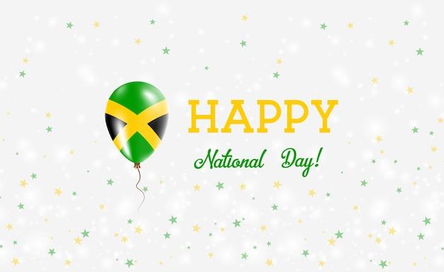 Jamaica nationale feestdag patriottische poster. vliegende rubberen ballon in de kleuren van de jamaicaanse vlag. jamaica nationale feestdag achtergrond met ballon, confetti, sterren, bokeh en sparkles.