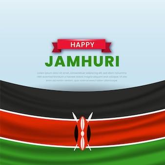 Jamhuri-dagevenement geïllustreerd met realistische elementen en vlag