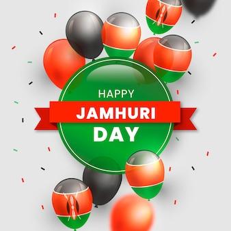 Jamhuri-dagillustratie met realistische ballonnen
