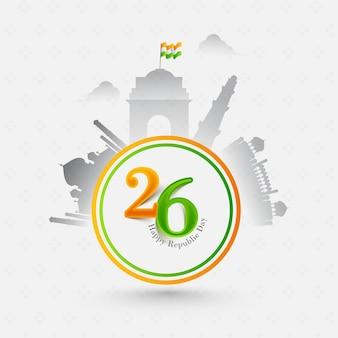 Januari, happy republic day posterontwerp met indiase vlag en silhouet beroemde monumenten op witte achtergrond.