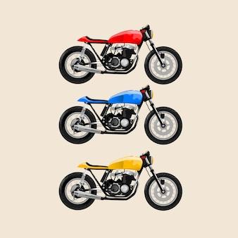 Jap-stijl motocycle klassiek rood geel blauw