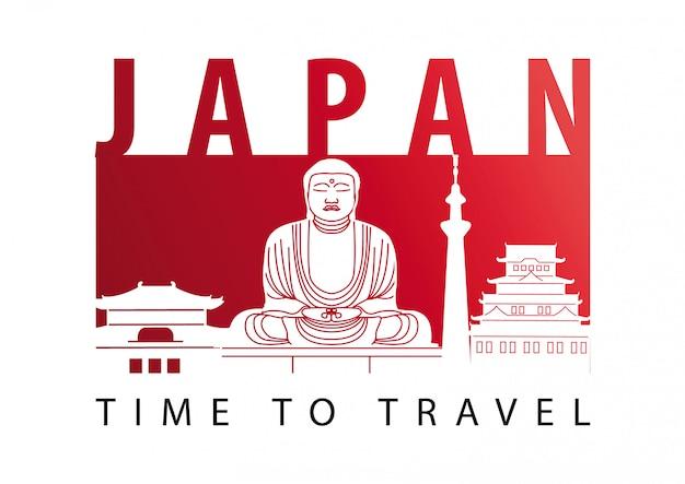 Japan beroemde landmarksilhouetstijl