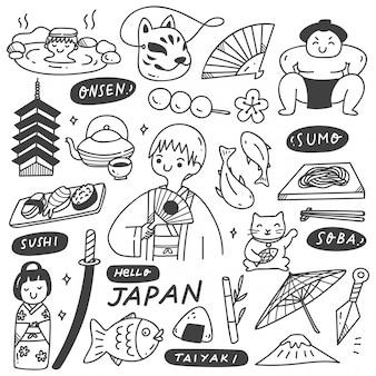 Japan cultuur doodle set