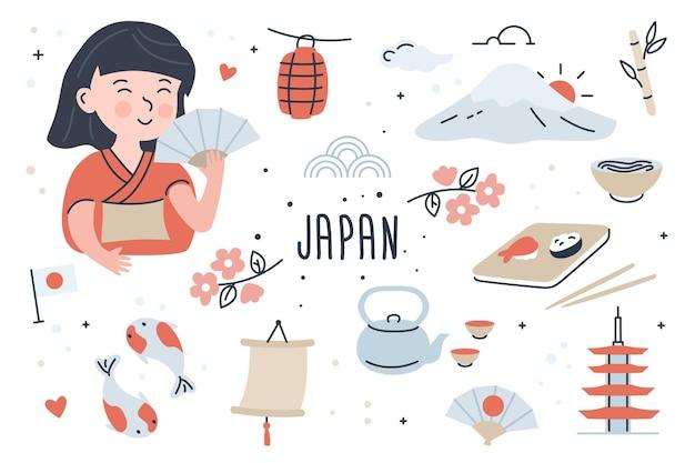 Japan doodle elementen instellen met mooi meisje