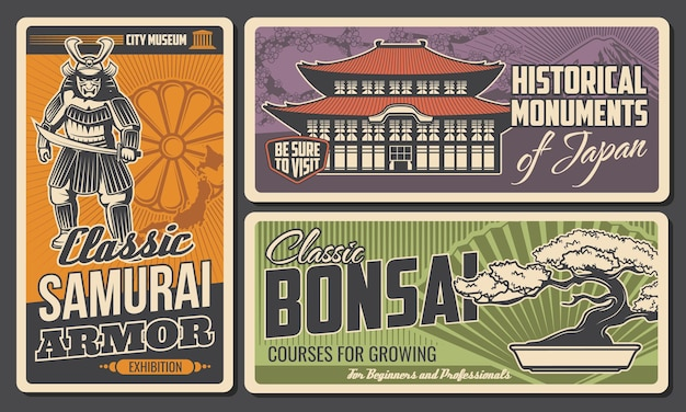 Japan geschiedenis museum, monumenten en bonsai kunst retro posters