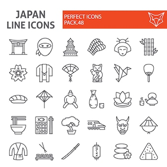 Japan lijn icon set