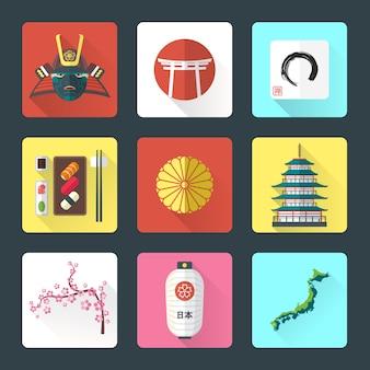 Japan nationale thema-iconen met schaduw ingesteld
