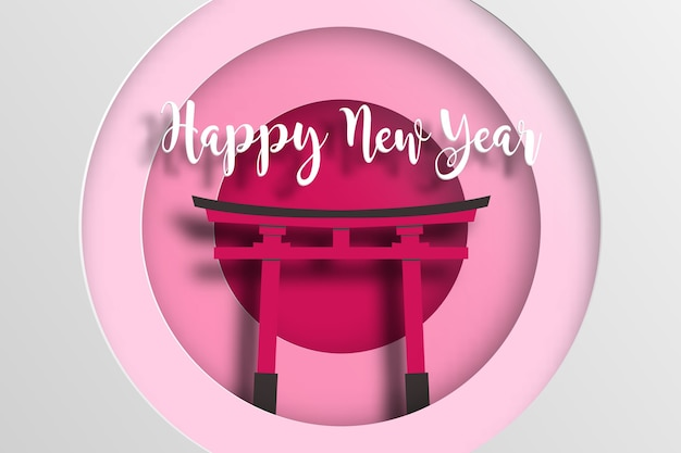 Japan nieuwjaarsaffiche met fushimi inari taisha.