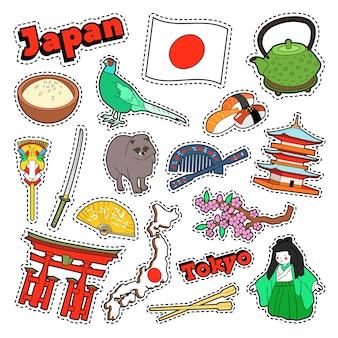 Japan reiselementen met architectuur en sushi. vector doodle