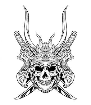 Japan samurai skull sword