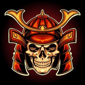 Japan skull samurai warrior vectorillustraties voor uw werk logo, mascotte merchandise t-shirt, stickers en labelontwerpen, poster, wenskaarten reclame bedrijf of merken.
